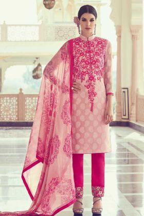 Light Pink Color Georgette Jacquard Salwar Suit