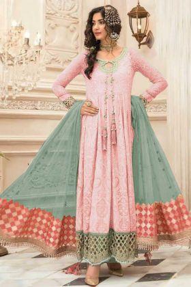 Light Pink Color Pakistani Style Faux Georgette Suit