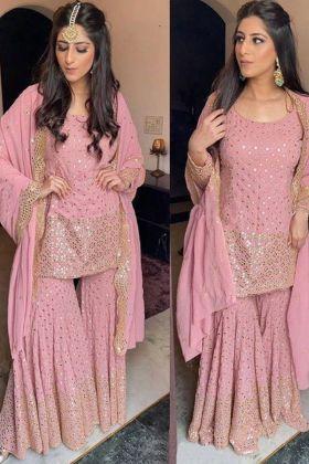 Light pink color Sequence Work Fashion Designer Yankita Kapoor Sharara  Salwar Suit