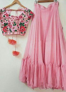 Light Pink Lehenga With Zari Embroidered Choli