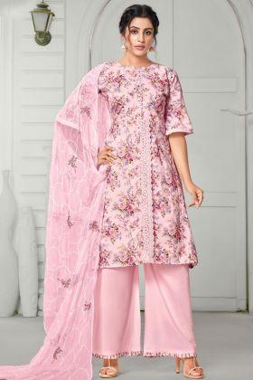 Light Pink Pure Jam Cotton Plazzo Suit