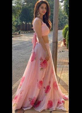 Light Pink Rose Printed Lehenga Choli