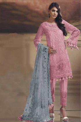 Light Pink Tissue Silk Pakistani Straight Suit
