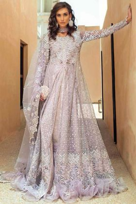 Light Purple butter Fly Net Pakistani Dress with Heavy Embroidry Dupatta