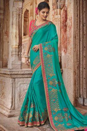 Light Rama Two Tone Barfi Silk Saree For Wedding