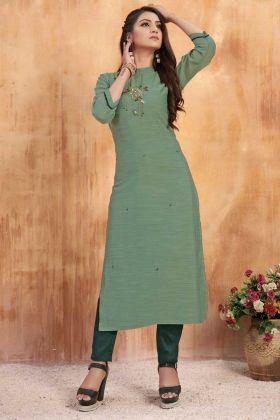 Light Teal Green Art Silk Readymade Kurti With Bottom