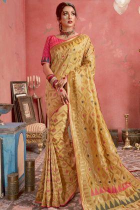 Light Yellow Blended Cotton Jacquard Banarasi Silk Saree