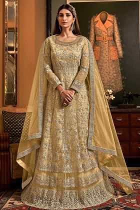 Light Yellow Butter Fly Net Indo Western Suit In Embroidery Work