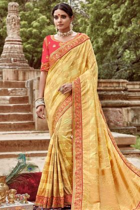 Light Yellow Color Jacquard Silk Heavy Embroidered Saree