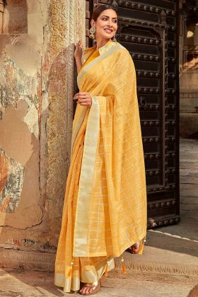 Light Yellow Color Jute Cotton Saree Online With Fancy Jacket
