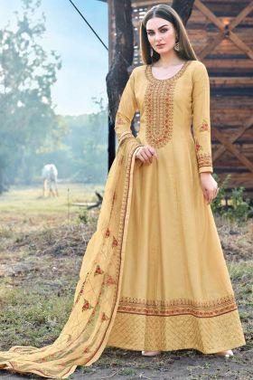 Light Yellow Color New Designer Dola Silk Heavy Dress For Haldi Rasam