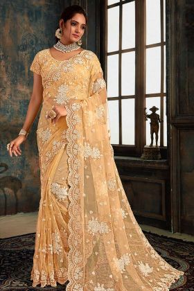 Light Yellow Net Saree Blouse Designs