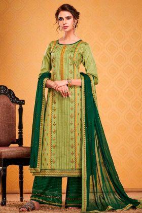 Light Green Cotton Silk Party Wear Salwar Suit