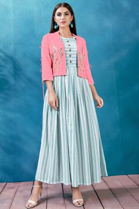 Light Blue and White Color Handloom Jacket Style Designer Kurti