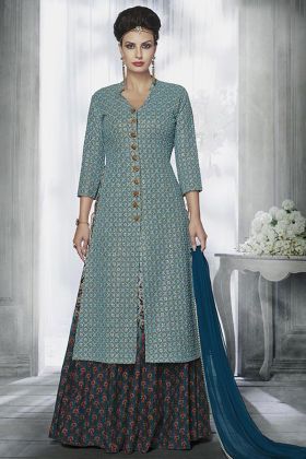 Light Blue Color Tussar Silk Indo Western Salwar Suit