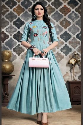 Light Blue Khadi Cotton Kurti