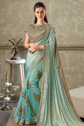 Light Blue Lycra and Net Party Wear Saree