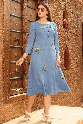 Light Blue Rayon Viscose Fabric Designer Kurti