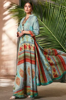 Light Blue Soft Silk New Anarkali Gown For Girls