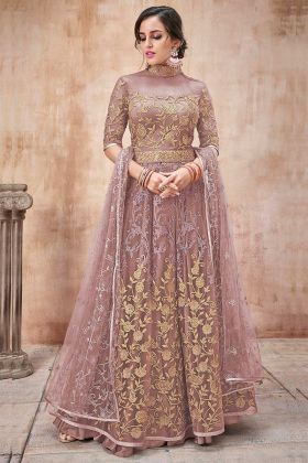 Light Brown Color Net Anarkali Salwar Suit With Embroidery Work