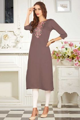 Light Brown Color Party Wear Kurti