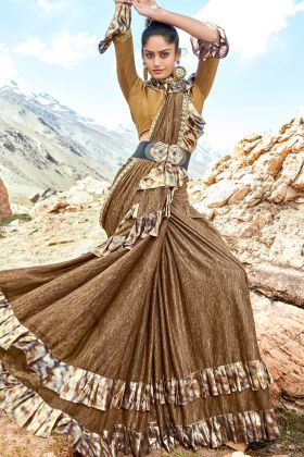Light Brown Lycra Ruffle Saree