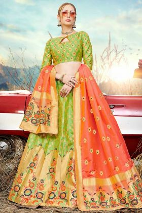 Light Green Color Banarasi Silk Jacquard Reception Lehenga Choli With Weaving Work