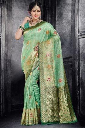 Light Green Color Classic Silk Saree