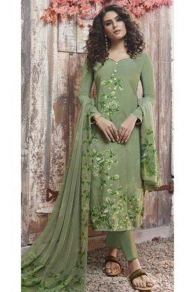 Light Green Color Crepe Pant Style Salwar Kameez
