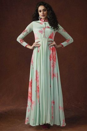 Light Green Color Georgette and Silk Crepe Fancy Gown With Zari Embroidery Work
