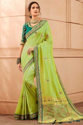 Light Green Color Heavy Banarasi Silk Wedding Saree With Hand Fancy Embroidery Work