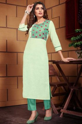 Light Green Color Linen Kurti With Thread Work