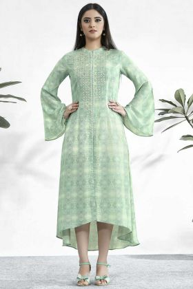 Light Green Color Muslin Kurti With Digital Printed Work