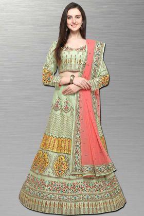 Light Green Color Resham Embroidery Work Barfi Silk Wedding Lehenga Choli