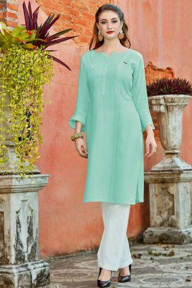 Light Green Color Schiffli Work Rayon Flex Office Wear Kurti