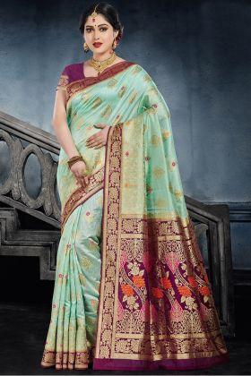 Light Green Color Traditional Silk Saree