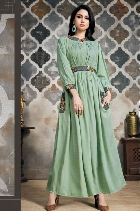 Light Green Cotton Long Kurti