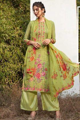 Light Green Designer Straight Cut Palazzo Suit