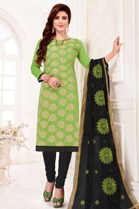 Light Green Jacquard Silk Chudidar Salwar Kameez