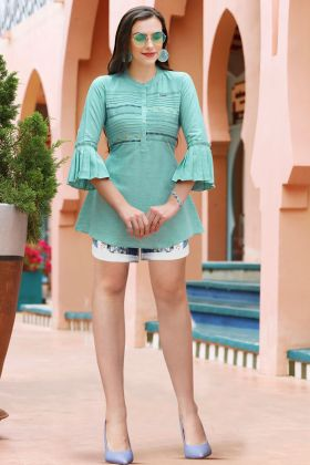 Light Green Litchi Plain Tunic Tops With Resham Embroidery Work