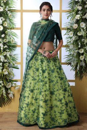 Light Green Net Wedding Lehenga Choli Semi Stitched