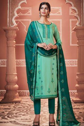 Light Green Pant Style Salwar Suit