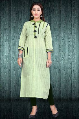 Light Green South Cotton Long Kurti