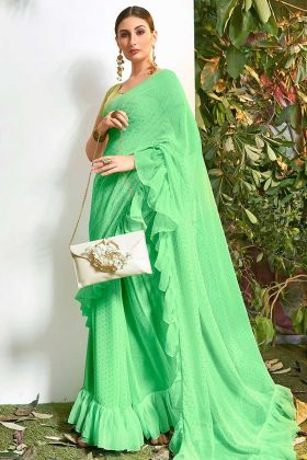 Light Green Stone Work Chiffon Designer Frill Saree