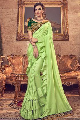 Light Green Vichitra Silk Ruffle Saree