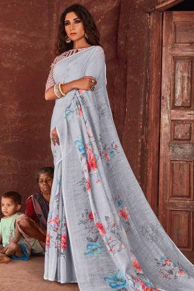 Light Grey Floral Printed Linen Saree