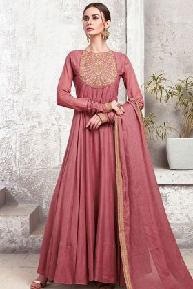 Light Maroon Heavy Cotton Anarkali Gown
