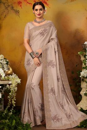 Light Mauve Color Pure Silk Party Wear Saree With Thread Embroidery Work
