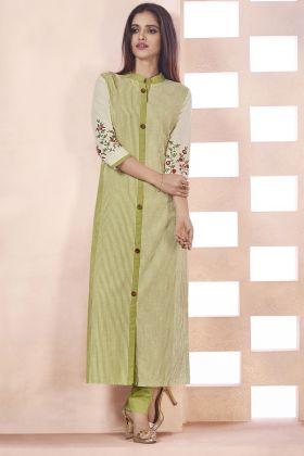 Light Olive Green Weaving Cotton Kurti