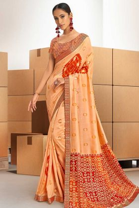 Light Orange Chanderi Silk Printed Ladies Saree